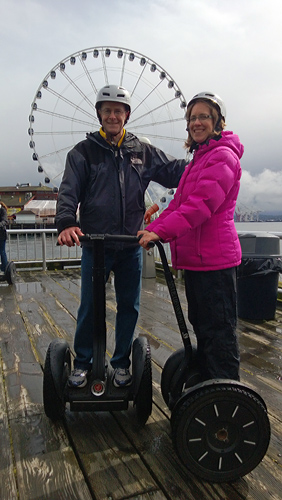 Seattle by Segway tour in front of Seattle Ferris wheel Great Wheel