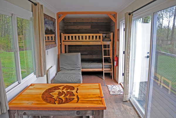 Tolt MacDonald Park shipping container camping cabin by Snoqualmie River interior sleeping area bunk beds