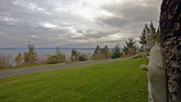 Archbishop Brunett Retreat Center at the Palisades Federal Way statue and Puget Sound view