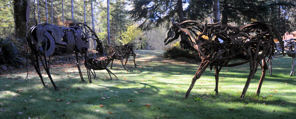 Recycled Spirits of Iron Ex Nihilo Elbe sculpture park herd or horses