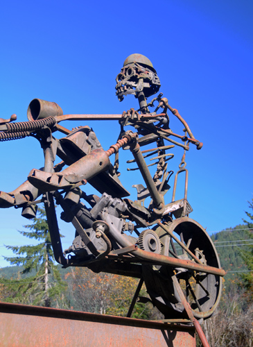 Recycled Spirits of Iron Ex Nihilo Elbe sculpture park skeleton motorcycle rider