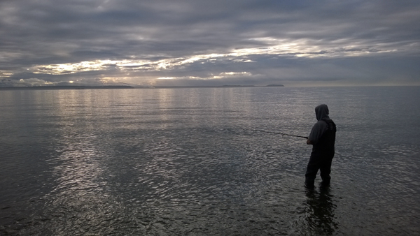 Salmon fishing from shore of Admiralty Bay Coupeville
