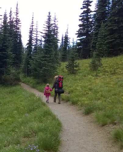 Backpackers on Sunrise area trail in Mt Rainier National Park
