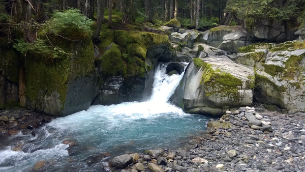 Stevens Creek Trail waterfall in Mount Rainier National Park