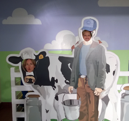 Tillamook Cheese Factory cow and farmer face cut-outs