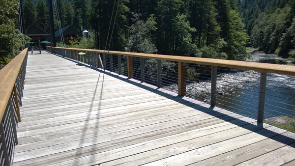 Tillamook Forest Center suspension bridge above Wilson River in Tillamook State Forest