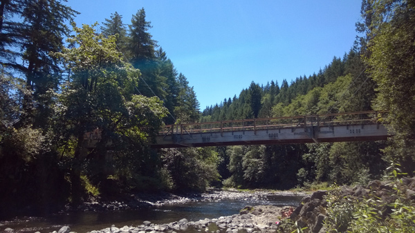 Tillamook Forest Center suspension bridge over Wilson River in Tillamook State Forest