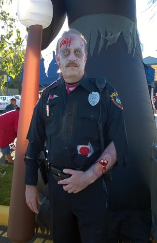 Actual police officer zombie at Zombie Fest in Normandy Park