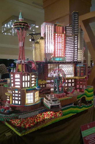Downtown Seattle skyline at Annual Gingerbread Village gingerbread house contest at Sheraton Seattle