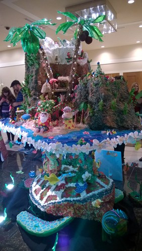 Tropical island on turtle at Annual Gingerbread Village gingerbread house contest at Sheraton Seattle