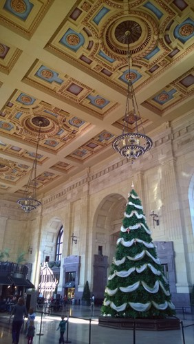Union Station interior with Christmas tree in Kansas City