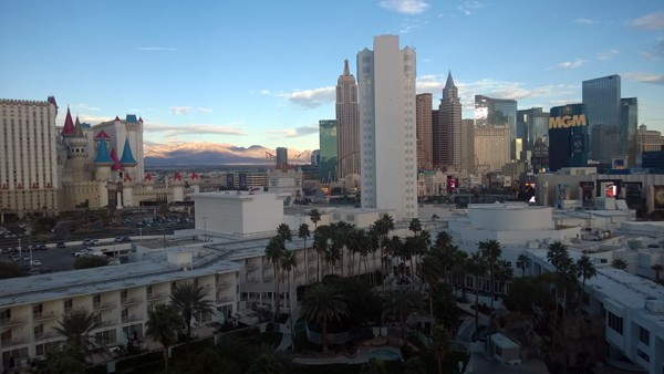 Early morning view from Tropicana hotel room to Las Vegas Strip