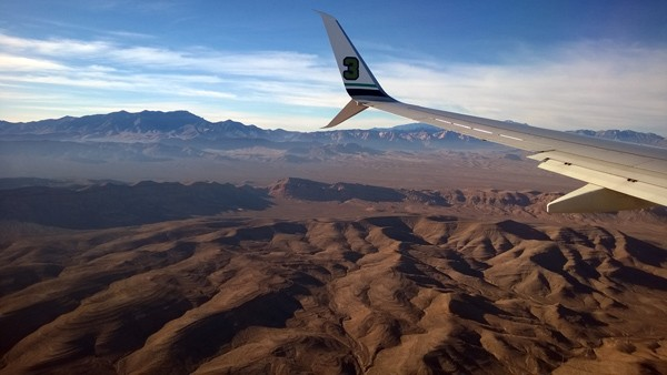 Flying airplane to Las Vegas above Spring Mountains