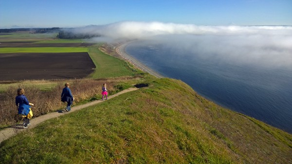 Hiking to Ebey's Landing in Ebey's Reserve of Coupeville on Whidbey Island