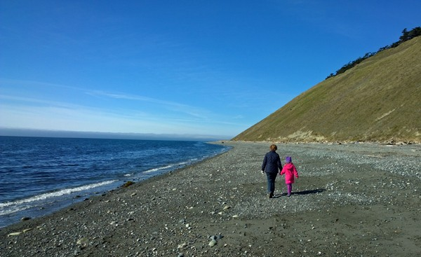 Walking beach north of Ebey's Landing in Coupeville on Whidbey Island
