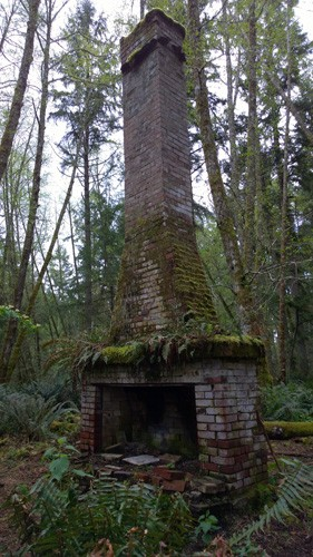 Jacobs Homestead chimney at Jacobs Point Park on Anderson Island