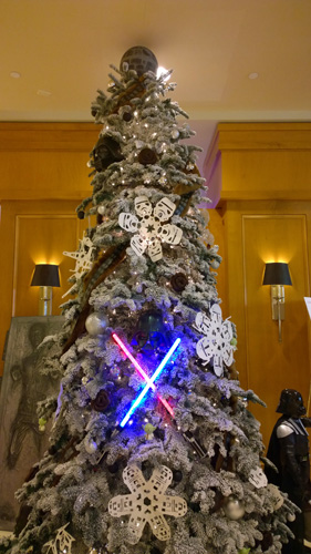 23rd Annual Gingerbread Village Star Wars theme at Seattle Sheraton Christmas tree