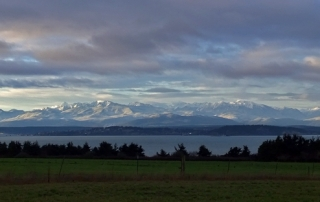Olympic Mountains snow view Ebey's Landing National Historical Reserve Coupeville