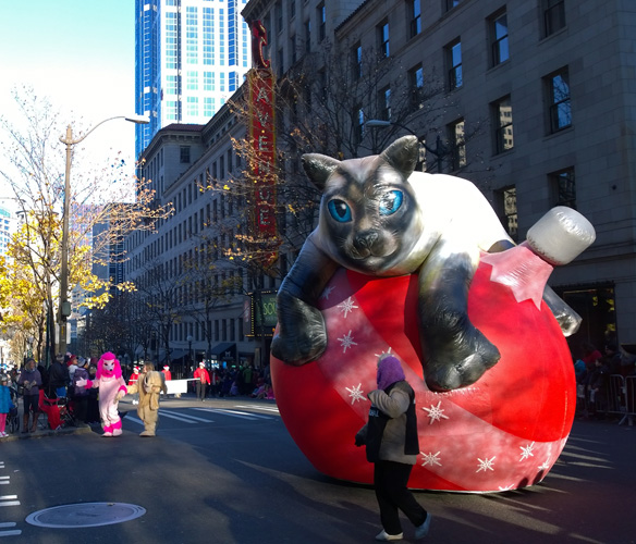 Seattle Macy's Thanksgiving Parade cat float