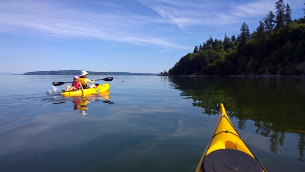 Kayaking Saratoga Passage by Whidbey Island Seabluff Terrace