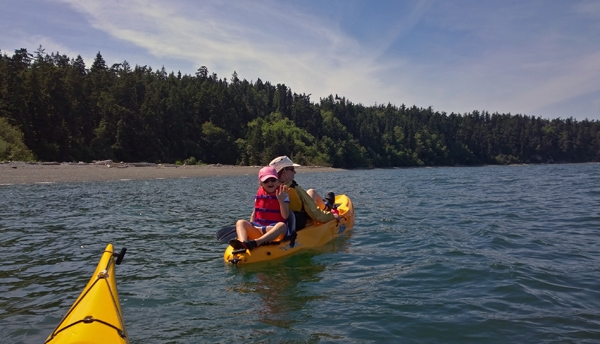 Kayaking Whidbey Island east of Coupeville in Saratoga Passage