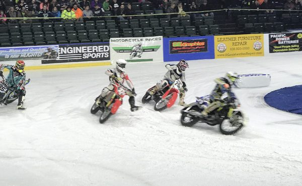 Ice Racing Championship Series 4 motorycles sliding in corner at Everett Xfinity Arena