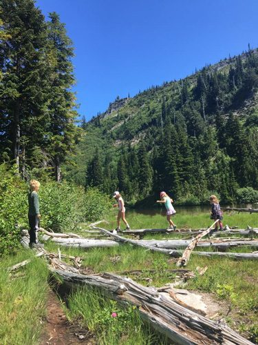 Kids on logs by Snow Lake in Mt Rainier National Park