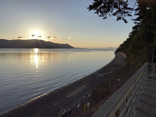 Cottage By The Sea Lummi Island sunset view over Orcas Island