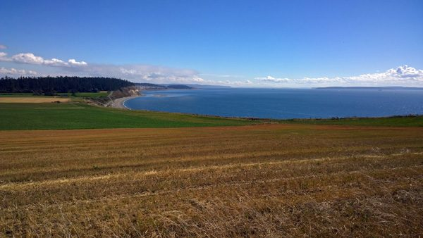 Ebey's Prairie Trail view to Ebey's Landing State Park, farm land, and Puget Sound