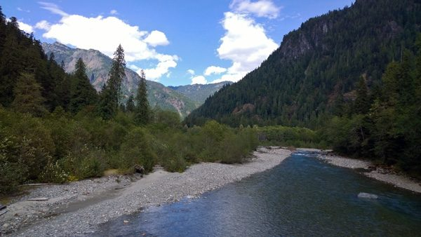 View of Baker River from suspension bridge along Baker Lake Trail near Mt Baker