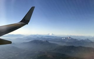 Flight over Washington Cascade Mountains view to Mt Baker