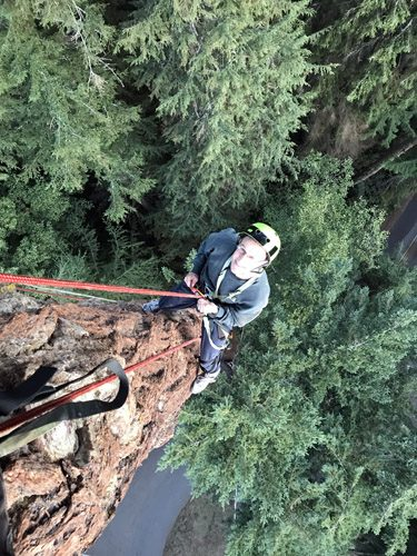 Adventure Terra sunset tree canopy climb Deception Pass State Park rappelling down old growth tree