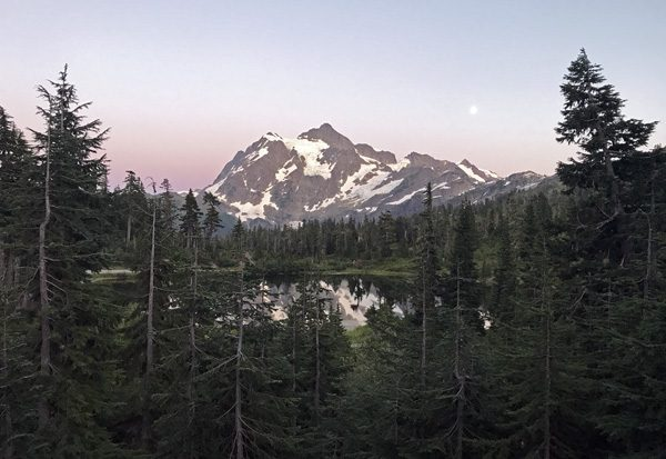 Mt Shuksan above Picture Lake by Mt Baker Lodge in Mt Baker Snoqualmie National Forest