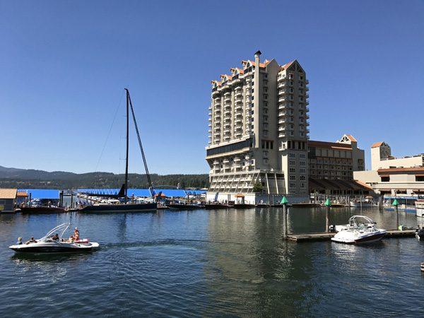 Lake Coeur d'Alene Resort and marina with wooden boat show Idaho