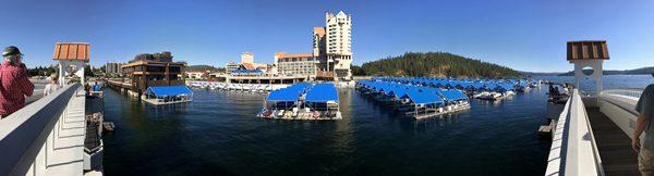 Lake Coeur d'Alene Resort marina view from floating dock pedestrian bridge