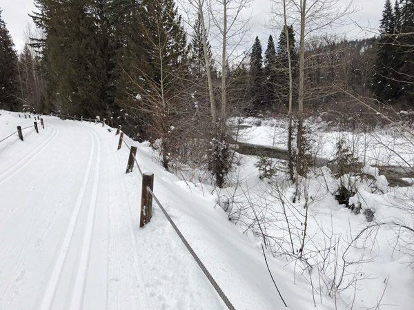 Kahler Glen cross-country ski trail by Nason Creek in Plain