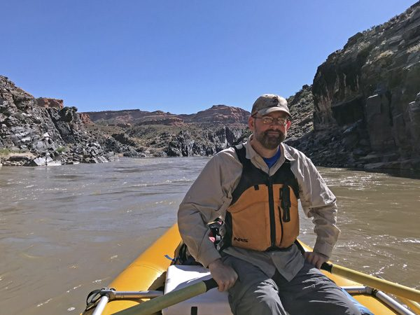 Guide on oars rafting Westwater Canyon on Coloarado River Utah