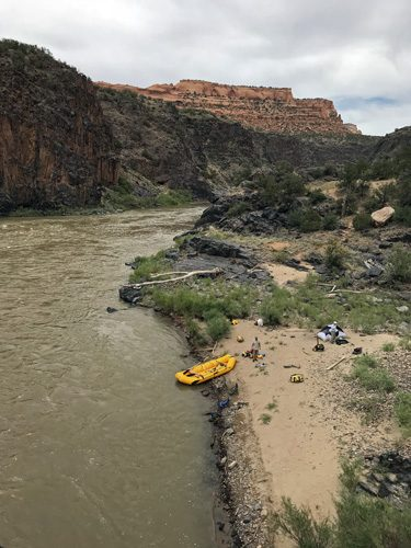Hades Bar campsite in Westwater Canyon on Colorado River Utah
